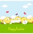 easter chickens against sky vector image vector image