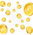 falling golden coins isolated on transparent vector image vector image