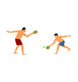 father playing beach tennis with son summer fun vector image vector image