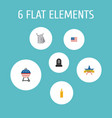 flat icons identity american banner tomb and vector image vector image