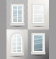 four closed realistic glass windows with shadows vector image vector image