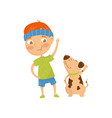 funny red-haired kid doing sports exercises with vector image vector image