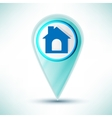 glossy web icon home design element on a blue vector image