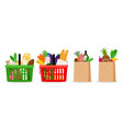 grocery food basket vector image vector image
