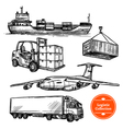 Hand Drawn Sketch Logistics Set vector image vector image