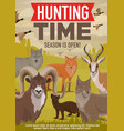 hunting open season forest wild animals and birds vector image vector image