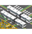 Isometric Long Bus in Rear View vector image vector image