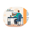 male character is playing computer game at home vector image