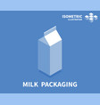 milk packaging icon isometric template vector image vector image