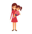 mom carrying her little daughter vector image vector image