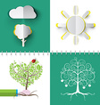 Nature Symbols Set Paper Cut Cloud Tree and Sun vector image vector image