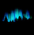 northern lights forest silhouette against the vector image vector image