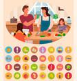 parents and children cooking in kitchen food set vector image vector image
