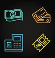 payment and discount neon icon set in line style vector image