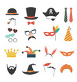 photo booth birthday and party set with hat mask vector image vector image