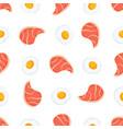 pork steak and scrambled eggs seamless pattern vector image