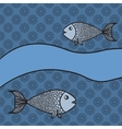 Print with two cartoon fishes and blank banner vector image