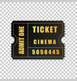realistic black cinema ticket isolated object vector image vector image