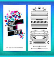 rectangular save the date heart graphics image vector image