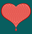 red heart wounded with love font design pop art vector image vector image