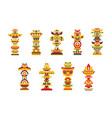 religious totem set colorful native cultural vector image vector image