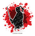 samurai warrior with sword vector image vector image
