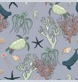 seamless pattern sea life vector image vector image