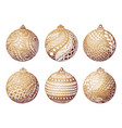 set gold christmas ball hand-drawn design vector image