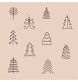 set hand drawn abstract christmas tree vector image vector image