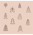 set hand drawn abstract christmas tree vector image