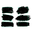 set of black paint ink brush strokes brushes lines vector image