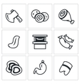 Set of Butcher Shop Icons Ax Sausage Ham vector image