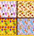set of food seamless patterns kawaii characters vector image vector image