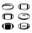 set rugby balls in vintage monochrome style vector image vector image