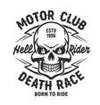skull t-shirt print mockup motor club society vector image vector image