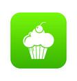 sweet cupcake icon green vector image