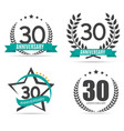 Template Logo 30 Years Anniversary Set vector image vector image