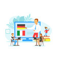 tiny people learning language online education vector image vector image