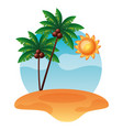tropical beach sand palm tree sun vector image