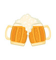 two glass mugs beer in flat style isolated on vector image