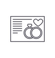 wedding card line icon concept wedding card vector image vector image