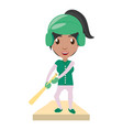 women playing baseball cartoon vector image