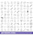 100 troops icons set outline style vector image vector image