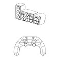 3d model of speaker system and joystick on a white vector image vector image