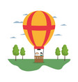 air balloon cute entertainment with children vector image vector image