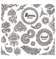 Big set of henna floral elements and frames vector image