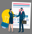 business collaboration workers handshake deal vector image vector image