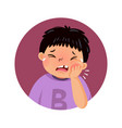 cartoon fat boy suffering from toothache vector image