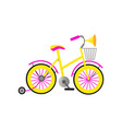colorful girl kid bicycle with basket and vector image vector image