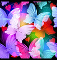 colorful glowing radial butterflies seamless vector image